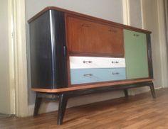 Stunning Retro 50s 60s Sideboard Cabinet With Coloured Doors Vintage Wooden