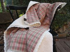 For the Baby - Country Inspired Pink Plaid and Chenille Baby Blanket. $78.00, via Etsy.