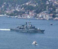 Turkish Navy Frigate F-241 TCG Turgutreis passing through the Bosphorus to join the BLACKSEAFOR task force.