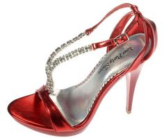 Love these red shoes with rhinestone straps. Perfect to peek out from under your gown! Cotillion Dresses, Pageant Dresses, Quinceanera Dresses, Homecoming Dresses, Bridesmaid Dresses Plus Size, Bridesmaid Shoes, Bridesmaids, Wedding Attire, Wedding Day