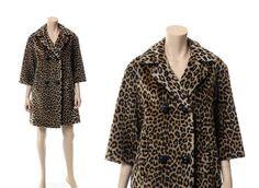 Vintage 60s Leopard Faux Fur Swing Coat 1960s by CkshopperVintage