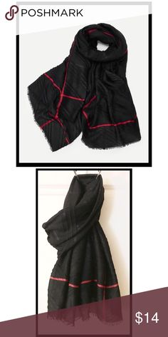 df9c911c Light black scarf with red accent line Super soft and light on the skin,  NWOT