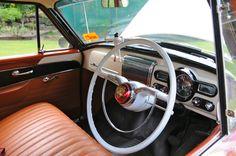 Holden FE, FC interior Photo.  White steering wheel (not standard equipment).