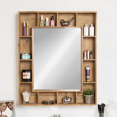 home accents shelves Gretel Rustic Wood Cubby Framed Wall Storage Accent Mirror Design Room, Interior Design, Design Design, Design Ideas, Fence Design, Interior Modern, Wood Design, Frames On Wall, Framed Wall