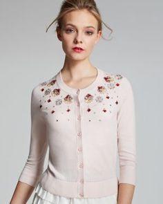 d501c6eeccba kate spade new york - Pink Kati Cardigan with Geometric Embellishment - Lyst
