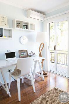 HOUSE RULES: QLD reveal - Maddi and Lloyd Coastal Living, Coastal Decor, Beach Office, Interior Decorating, Interior Design, Decorating Ideas, Decor Ideas, Living Area, Living Room