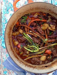 Italian Beef Stew Recipe , rustic Italian beef stew with red wine gravy, mushrooms, carrots and potatoes. Italy in a pot!
