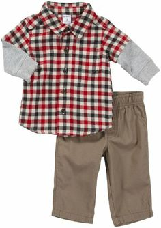 Carter's Baby Boys' L/S Woven Pant Set - Red Check/Khaki - 9 Months Carter's Carters Baby Boys, Baby Time, Little Man, Baby Boy Outfits, Plaid, How To Wear, Clothes, Future, Check