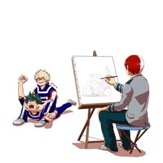 "HAHAHA  BNHA Shouto Todoroki painting Katsuki Bakugou VS Izuku Midoriya ""TAP OUT DEKU"" ""AAAAH KACCHAN STOP"""
