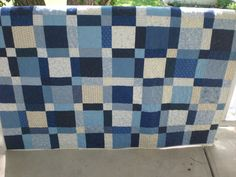 Blue and white quilt lap quilt by KeyLimeDesignByJeana....this would look good as a denim quilt pattern