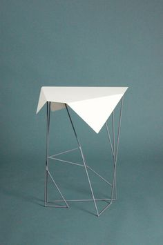 Kassandra Huynh: Rose Sheet Metal Origami Folded Table