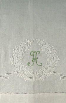Vintage monogrammed linen towel.