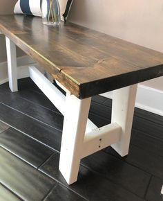 Farmhouse Wood Bench – Rustic – Wood Stain Top with White Legs – Entry Bench, Mudroom Bench, Dining Bench, Rustic Wood Bench – Decorating Foyer Rustic Wood Bench, Wood Table, A Table, Dining Table, Farmhouse Bench, Farmhouse Decor, Entry Bench, Bench Mudroom, Grey Wood Floors