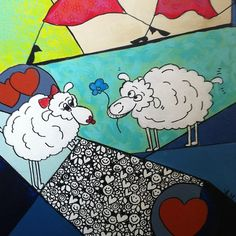 Sheep love #myart #jæren #humor #janemonicatvedt #sandnes #norway #theredladies