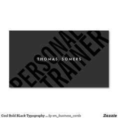 Cool Bold BLack Typography Personal Trainer Double-Sided Standard Business Cards (Pack Of 100)
