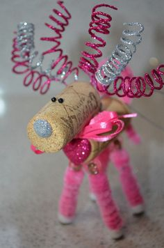 Wine Cork Reindeer celebrating Breast Cancer by TheCorkForest