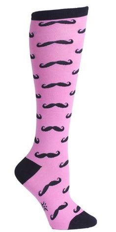 http://www.favortrend.com/category/knee-high-socks/ Pink Mustache Knee High Socks