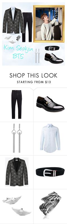 """""""Kim Seokjin BTS"""" by emrui ❤ liked on Polyvore featuring Moncler Gamme Bleu, Isabel Marant, Gucci, Yves Saint Laurent, Eleventy, Cufflinks, Inc., Bling Jewelry, men's fashion and menswear"""