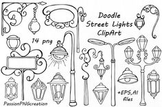 Doodle Street Lights Clipart ~ Illustrations on Creative Market