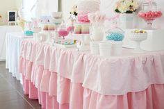 Adorable table skirting idea- ruffled layers