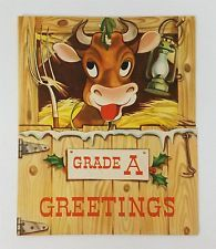 Vintage Christmas Greeting Card Farm Animal Cow Eyes & Mouth Move