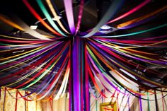 Streamer ceiling would look great over a table with the center streamers pooling onto the table top. 80s Party Decorations, Office Decorations, Arabian Party, Mehndi Decor, Mehendi, India Decor, Disco Party, Prom Party, Bollywood Party