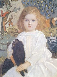 artist john duncan  (I think that I have a especial appeal to girls sitting with a cat on her lap, I just love the image)