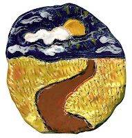 Van Gogh ceramic landscape - lots of great art projects for kids at this site!
