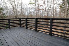 Horizontal Deck Railing, Wood Deck Railing, Deck Spindles, Deck Railing Design, Fence Design, Railing Ideas, Porch Railings, Deck Stairs, Rustic Deck