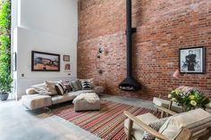 Converted Cooperage in Clerkenwell Vintage Industrial Bedroom, Hanging Fireplace, Gravity Home, Interior Decorating, Interior Design, Piece A Vivre, Exposed Brick, Living Room Chairs, Family Room