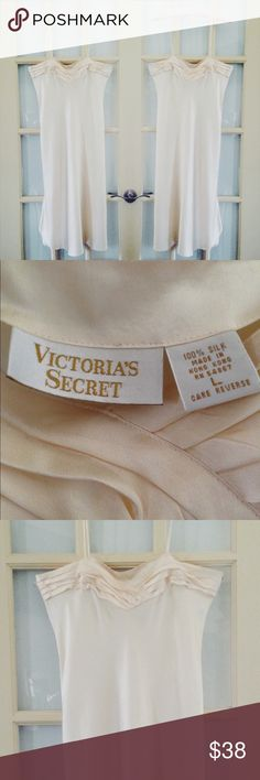 Victoria's Secret silk night gown Vintage ivory 100% silk nightie from Victoria's Secret. In good condition, details around the neckline are a bit loose & might need to be sewn but an overall nice vintage piece Victoria's Secret Intimates & Sleepwear Chemises & Slips