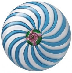 Clichy blue and white swirl paperweight with a central rose cane, from the Bergstrom-Mahler Museum