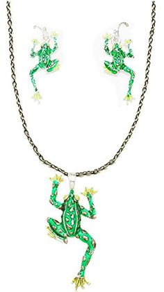Silver Tone Large Bright Green Toad Frog Pendant Necklace 18 Inches and Earrings Treasure Pixie