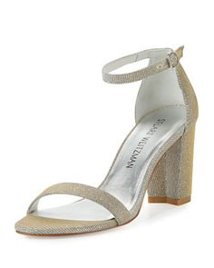 Nearlynude Shimmery City Sandal, Magnesium by Stuart Weitzman at Neiman Marcus.