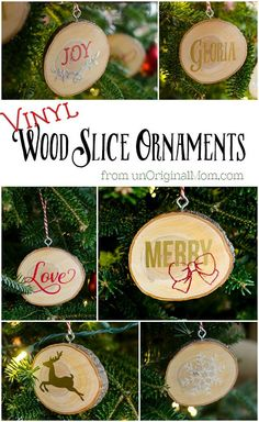 DIY wood slice ornaments with vinyl - so pretty, and would make great idea for Christmas crafts and gifts!