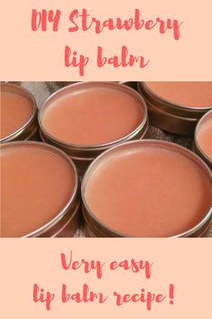 What can remind us of summer more than strawberries? This recipe will help you to make a very fun and easy moisturizing lip balm. Shea butter and sweet almond oil are great for moisturizing dry lips a Lip Scrub Homemade, Homemade Moisturizer, Moisturizer For Dry Skin, Beauty Base, Diy Beauty, Strawberry Lip Balm, Lip Balm Recipes, Diy Lip Balm, Dry Lips