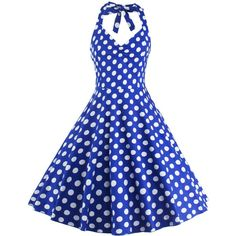 Polka Dot Halter Pin Up Flare Sleeveless Dress ($16) ❤ liked on Polyvore featuring dresses, blue fit-and-flare dresses, polka dot pinup dress, sleeveless halter top, halter-neck dress and halter dress