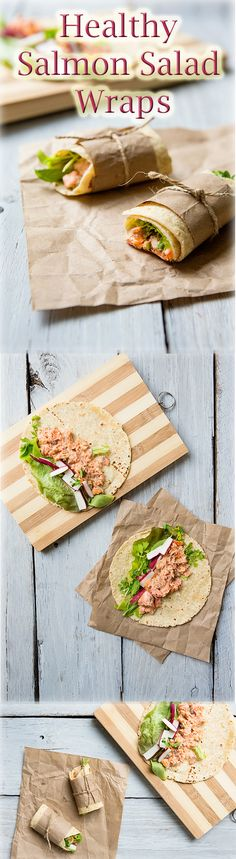 Make easy and healthy salmon salad wraps with your leftover salmon.  Perfect for lunch or a picnic!