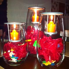 Party Lite Clearly Creative Votive Holders set up for summer.
