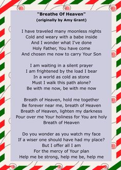 """December 11, 2015 of Jesus Birthday Celebration"""" some of the lyrics of """"Breath of a Heaven"""" by Amy Grant"""