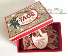 Stampin' Up! - Box of Christmas Tags with Candy Cane Lane Suite - Judy May, Just Judy Designs