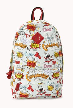 Cool Comic Graphic Backpack | FOREVER21 There is no age limit on comics! Accessories #Comic #Graphic #Backpack