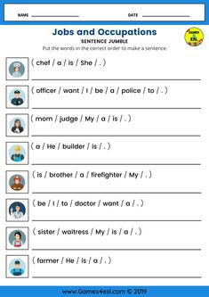 This ESL worksheet is for teaching Jobs and occupations vocabulary and sentences. Students should look at the picture and complete the sentence using the correct job / occupation name. English Activities For Kids, English Grammar For Kids, Learning English For Kids, Teaching English Grammar, English Lessons For Kids, English Writing Skills, English Language Learning, Learn English Words, 2nd Grade Reading Worksheets