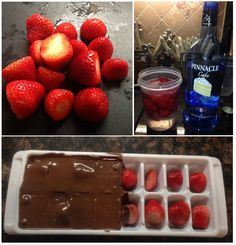 Vodka Strawberries  All you need is your choice of flavoured vodka, chocolate bark, strawberries  & an ice cube tray.  Step 1: soak strawberries over night in vodka  Step 2: next day place strawberries in ice cube tray and pour melted chocolate over    Step 3: place tray of berries in the freezer to set Step 4: enjoy!!!