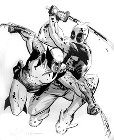 Deadpool vs Wolverine by ReillyBrown.deviantart.com  Thinking of having this done as a forearm tattoo