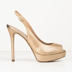 #zapatos #tacón #peeptoe de la nueva colección #SS de #pedromiralles en color #dorado #golden #shoponline