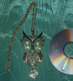 Huge owl necklace with articulated movement by etsybetsycash