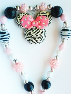 minnie mouse in zebra print  beaded necklace by crystalnruby, $15.00