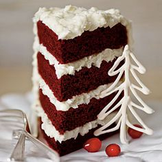Most Pinned Christmas Dessert Recipes | Red Velvet Cake with Coconut-Cream Cheese Frosting | SouthernLiving.com
