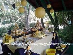 Candy bar de Abeja. Fiesta temática de abejas. Decoración de fiestas